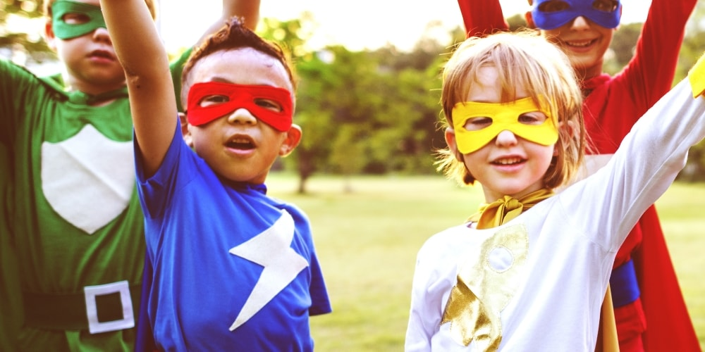 Google's mobile site review, a group of kid superheroes