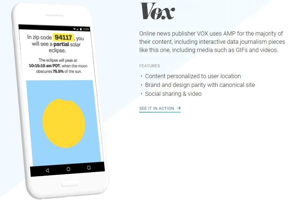 Screenshot of Vox accelerated mobile page