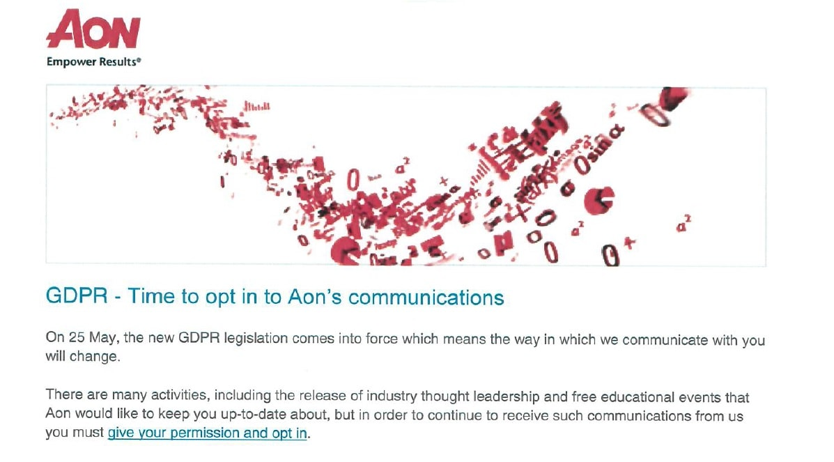 Aon GDPR email example