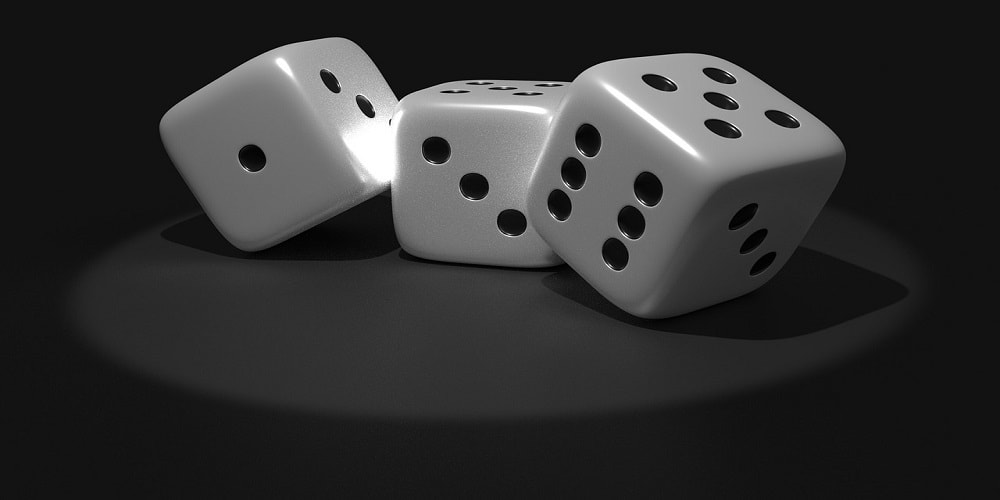 Dice with numbers one, three, and six