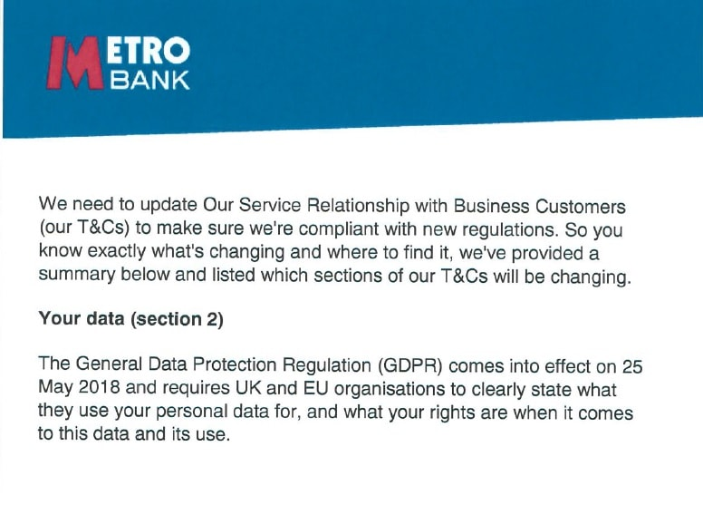 Metro Bank GDPR email example
