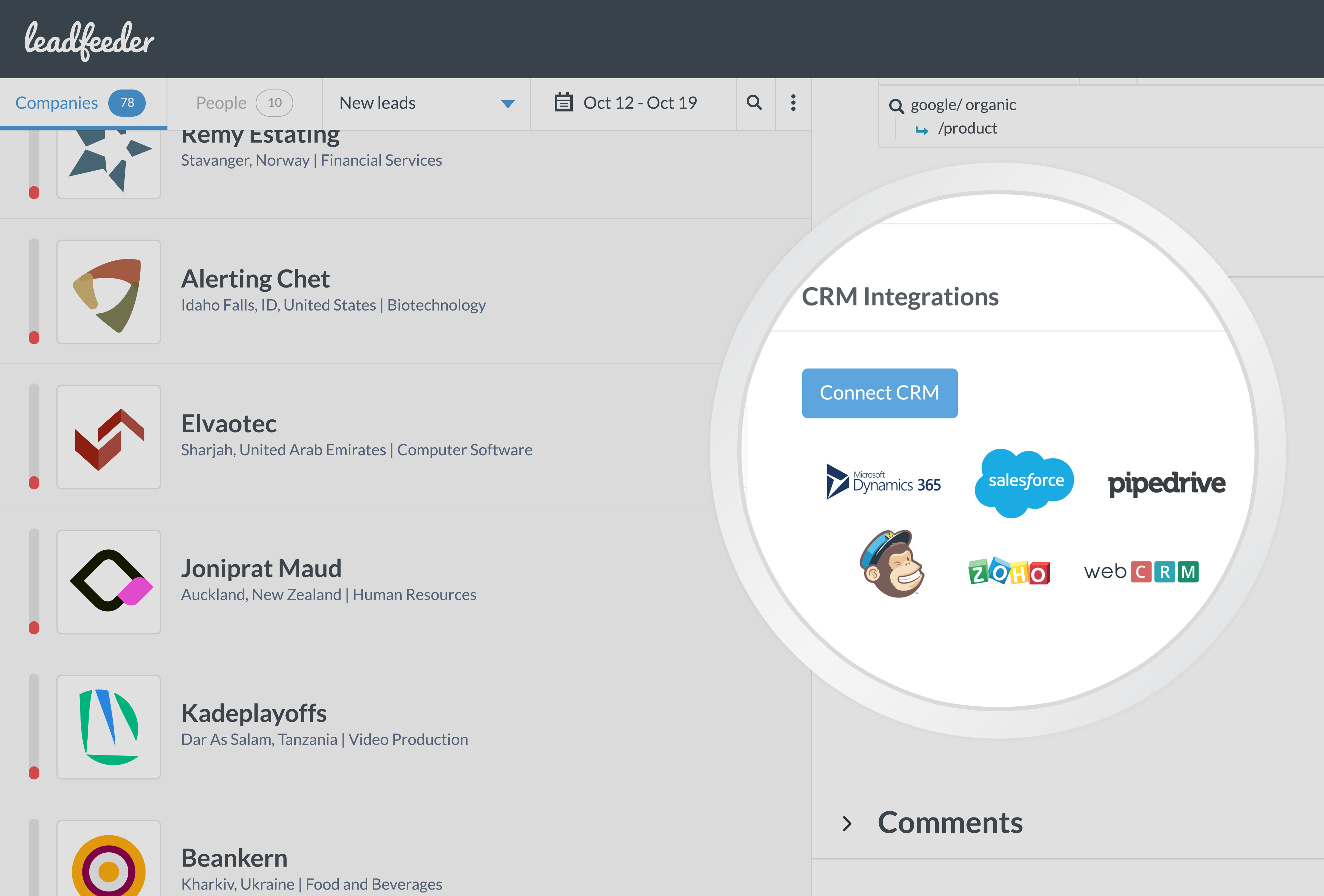 Leadfeeder integrates with CRM systems