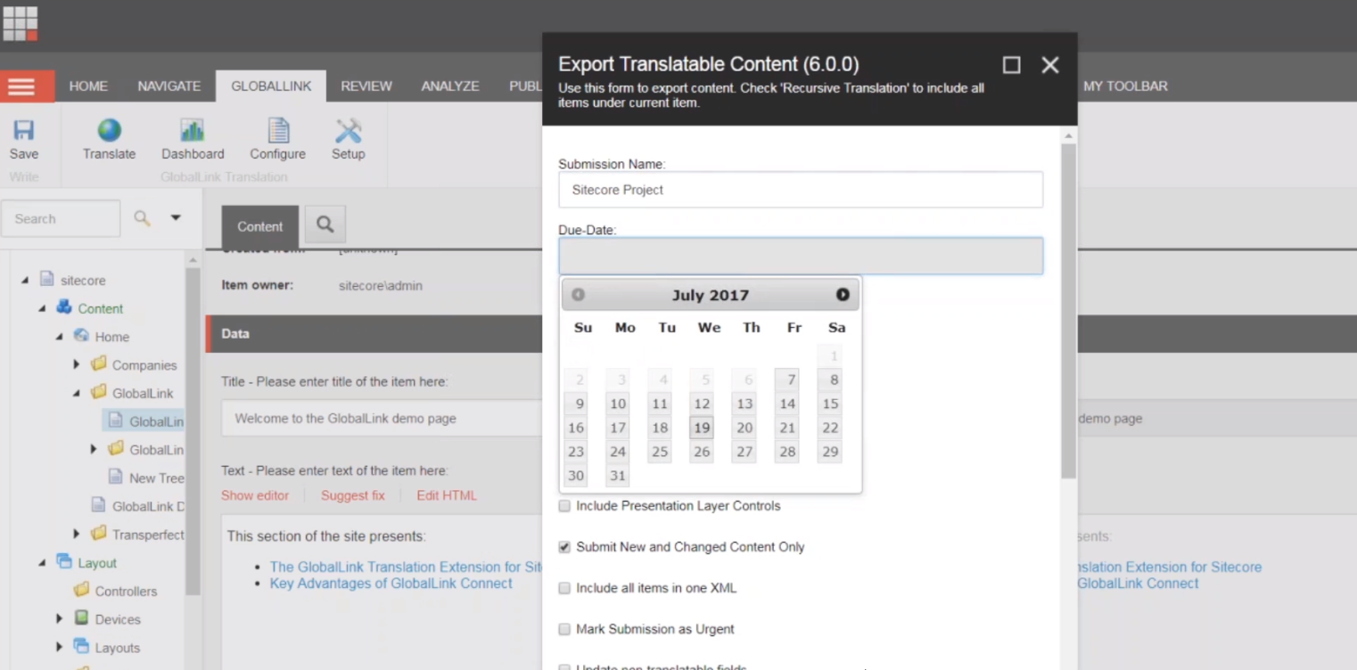 GlobalLink automated translation feature in Sitecore