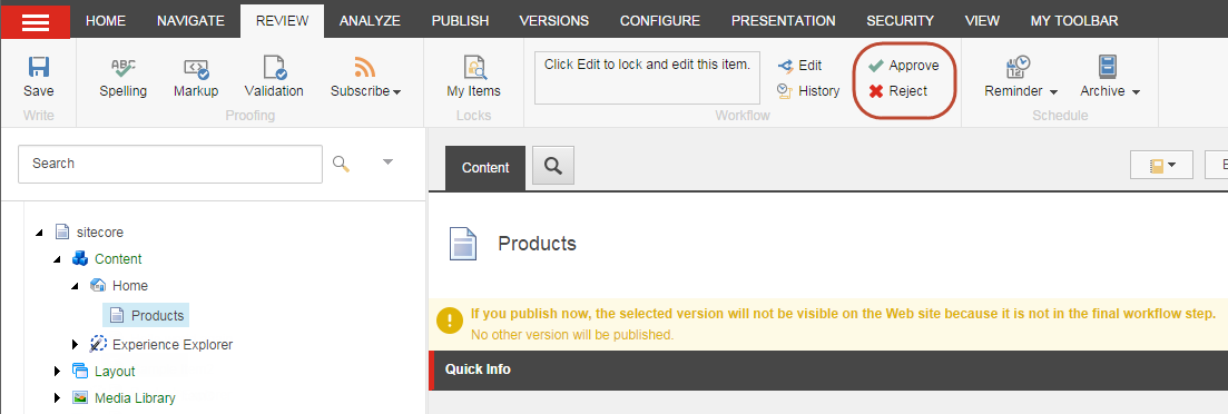 How the approve reject buttons look in Sitecore content editor