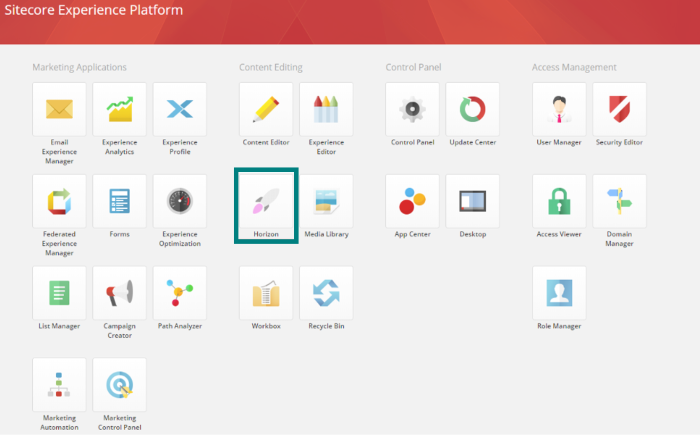 Sitecore launchpad with horizon