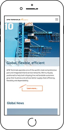 APM Terminals website - mobile view
